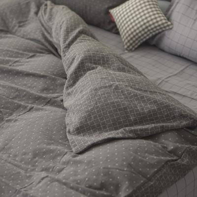台灣製 被套-單人 雙層紗-十字深灰 新疆棉寢織品 自然無印 自由混搭 翔仔居家