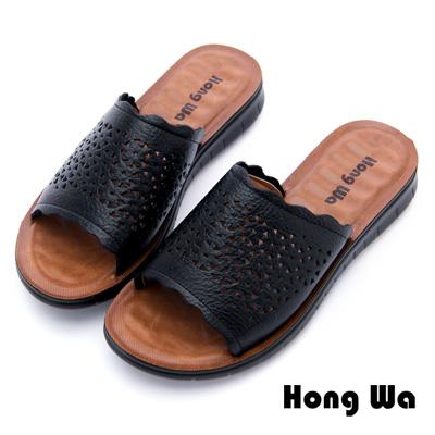 Hong Wa - 英倫復古刷舊柔軟休閒拖鞋 - 黑
