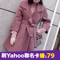 韓國深玫瑰色100%羊毛手工大衣
