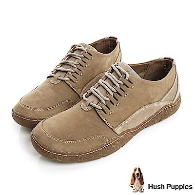 Hush Puppies SWAY亞麻大底綁帶休閒便鞋-褐色