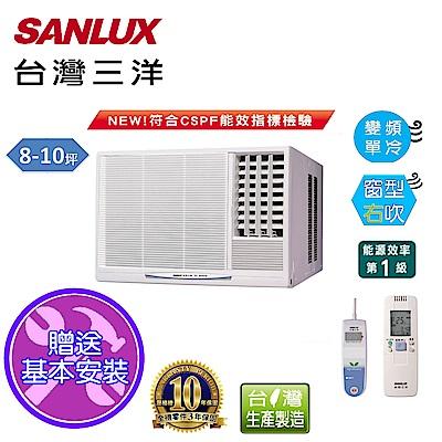 台灣三洋SANLUX 8-10坪窗型變頻冷氣右吹SA-R50VE1