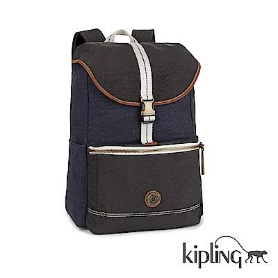 Kipling Edgeland系列 仿舊藍黑撞色後背包-大