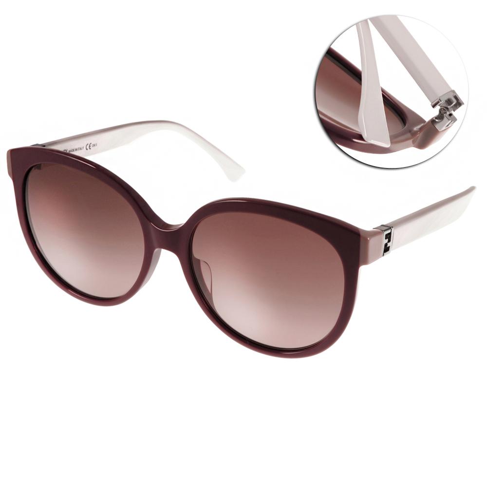 FENDI太陽眼鏡 經典LOGO款/深紅-白#FS0144FS MFZ