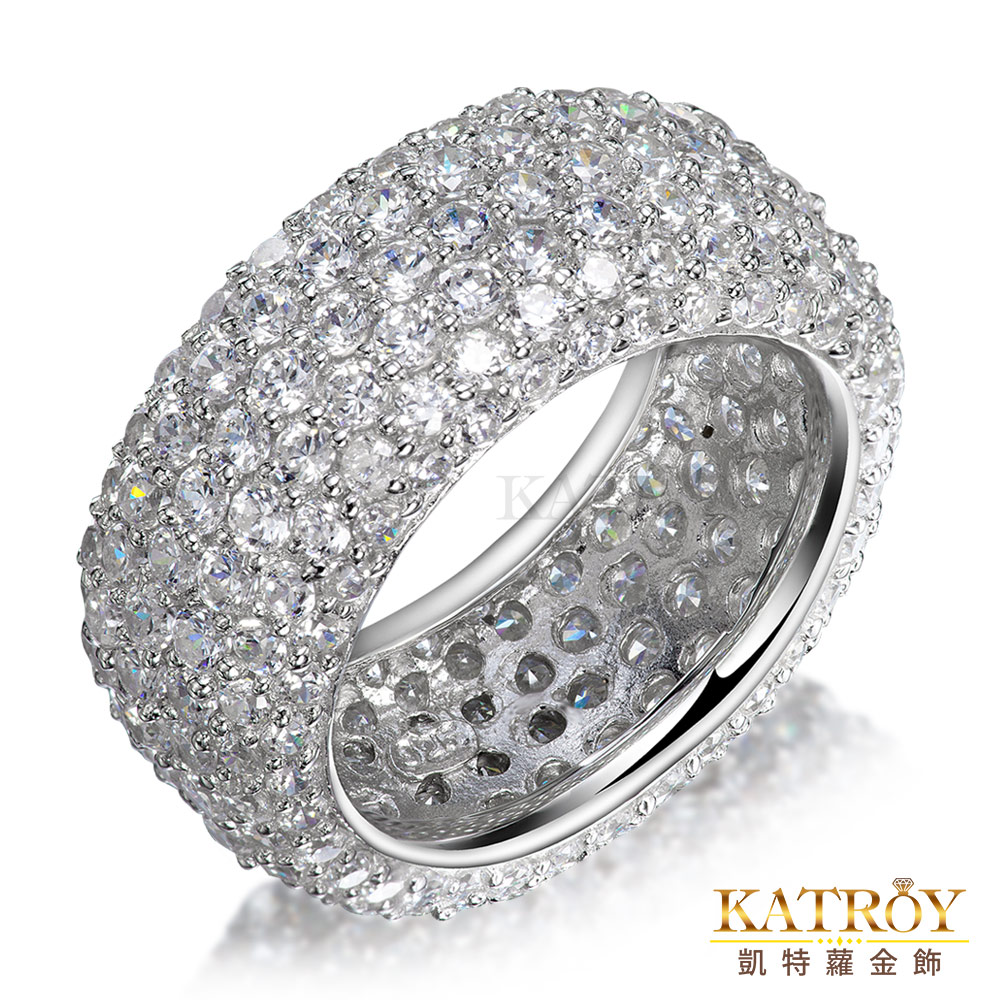 KATROY 925純銀戒指滿鑽爪鑲 精鍍正白K玫金色-共8色