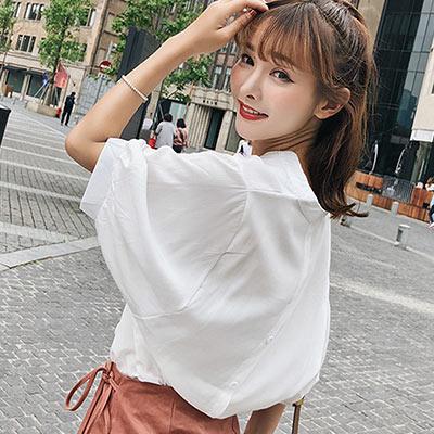 純色V領後排扣寬鬆襯衫 (共三色)-Kugi Girl
