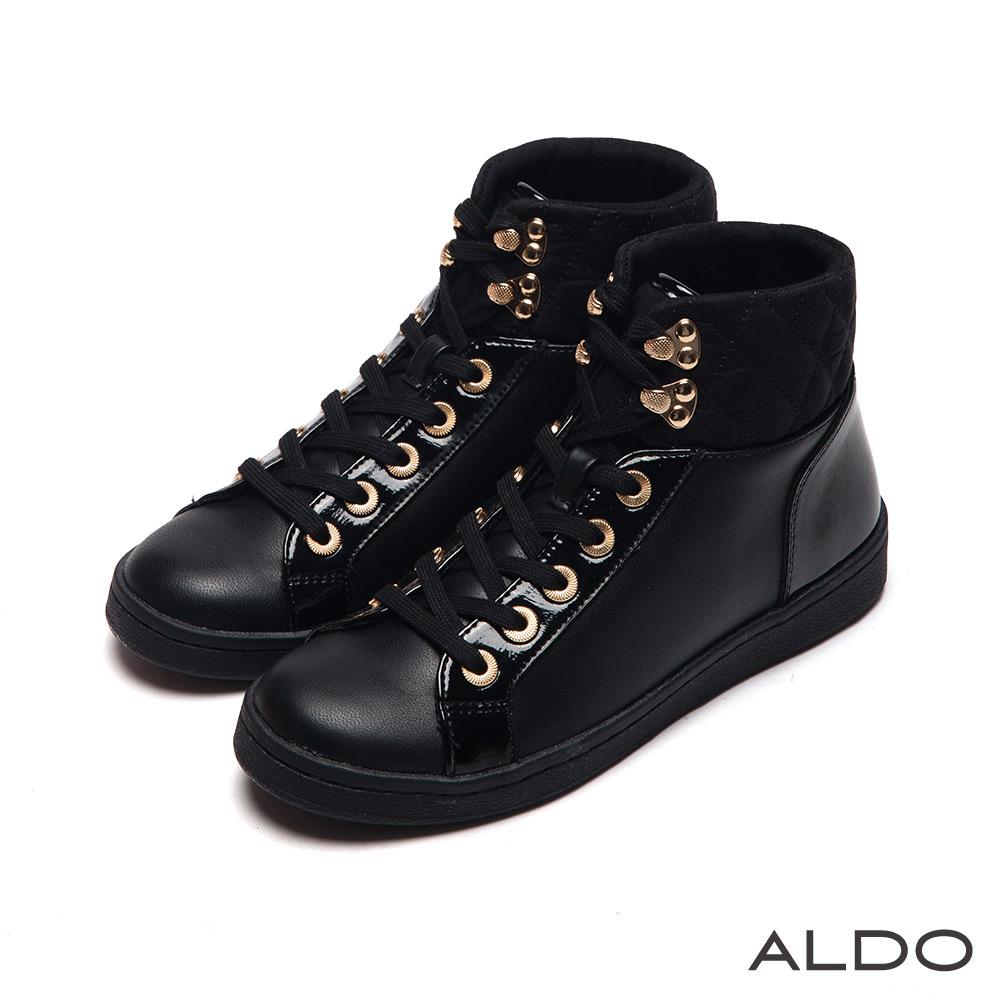ALDO 個性街頭風原色金屬高筒綁帶式運動鞋~尊爵黑色