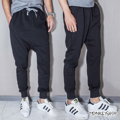 Monkey Shop 素面哈倫褲螺紋縮口棉質長褲
