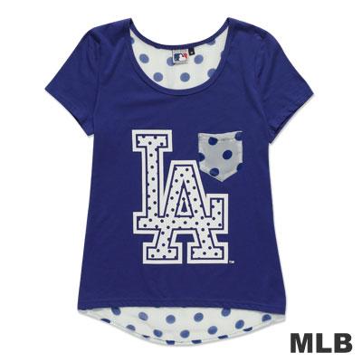 MLB-洛杉磯道奇隊雪紡印花T恤-深藍(女)