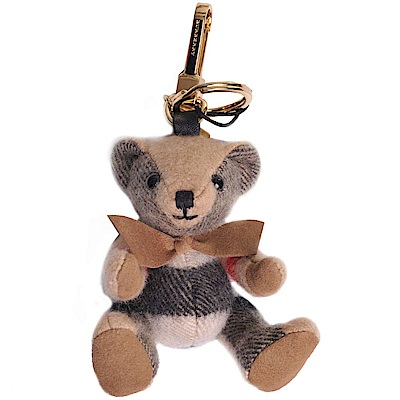 BURBERRY 經典格紋喀什米爾Thomas 泰迪熊吊飾/掛飾(駝色)