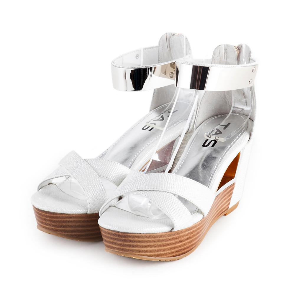 TAS金屬踝繫帶蜥蜴紋鏤空厚底楔型涼鞋-時尚白