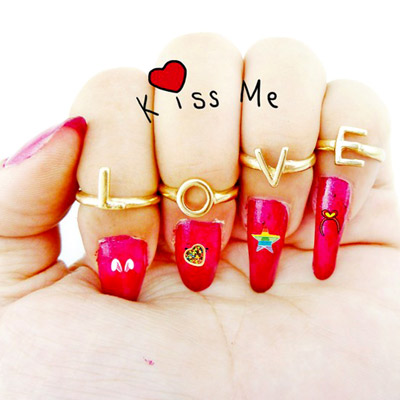 【Aimee Toff】LOVE愛戀多樣變化造型戒指(4個一組)