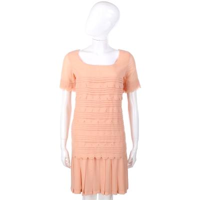 LOVE MOSCHINO 粉橘色波浪花邊百褶短袖洋裝