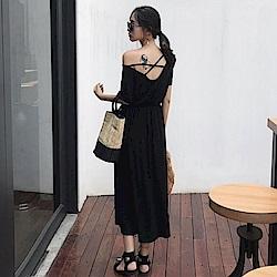 La Belleza背交叉縮腰棉質長版洋裝