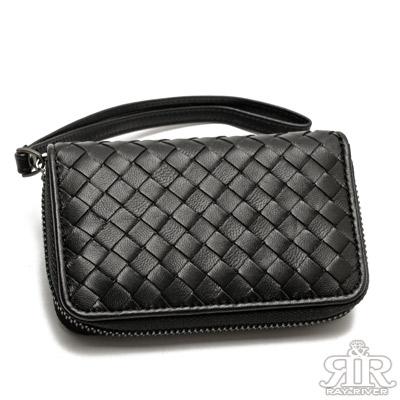 2R-細呢羊皮SuSu編織鑰匙零錢包-百搭黑