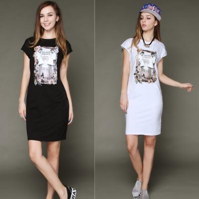 La Belleza女人花朵印花圖片棉質背心洋裝XL~4L