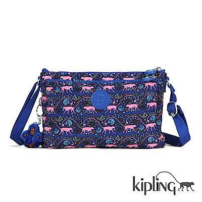 Kipling 斜背包 粉色猴子叢林印花-小