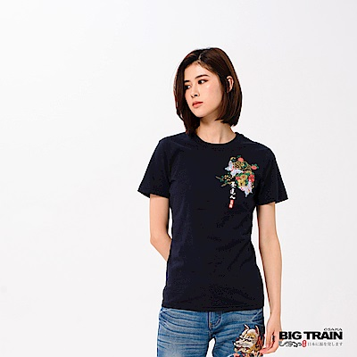 BIG TRAIN 花蝶舞春短袖女款-女-深藍