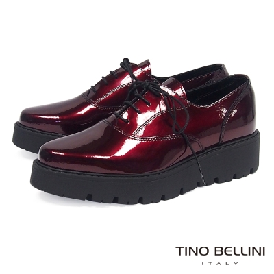 Tino Bellini 義大利進口金屬皮綁帶厚底皮鞋 _紅