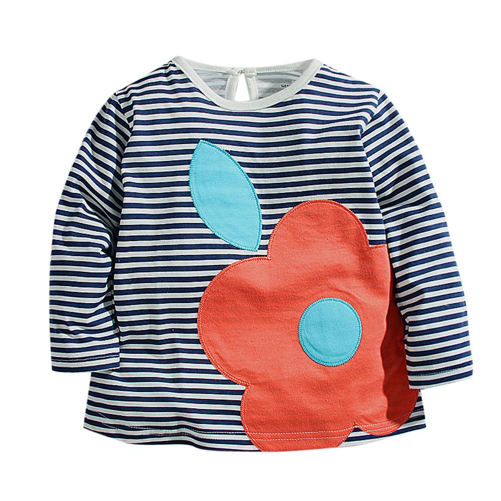 歐美風 條紋花朵 女童純棉長袖T恤