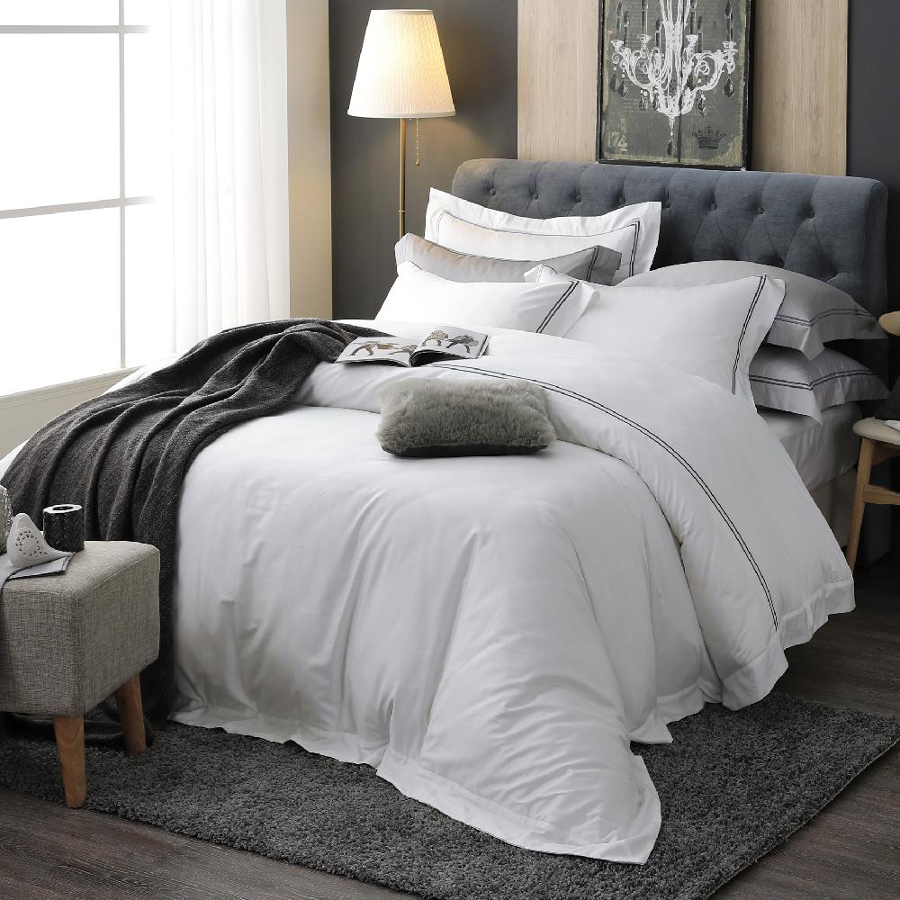 OLIVIA  極簡純色 白  雙人兩用被套床包四件組   300織長絨棉