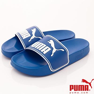 PUMA童鞋-超輕量止滑拖鞋款-60263-07藍(大童段)T