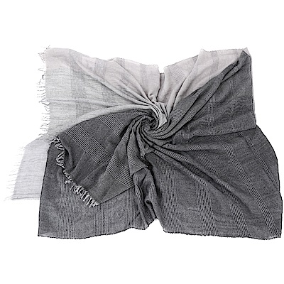 FABIANA FILIPPI 莫代爾羊絨深灰條紋拼接流蘇圍巾