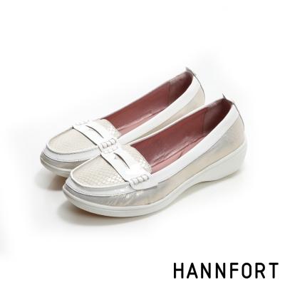 HANNFORT H-COMF五密度鱗紋真皮氣墊樂福鞋-女-時尚金