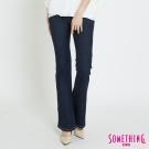 SOMETHING V-HIP雙層網布提臀靴型褲-女-酵洗藍