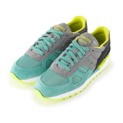 (女) 美國 SAUCONY 經典時尚休閒輕量慢跑球鞋-綠淺灰