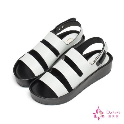 達芙妮x高圓圓 圓漾系列三線金屬壓釦厚底涼鞋-俏麗白