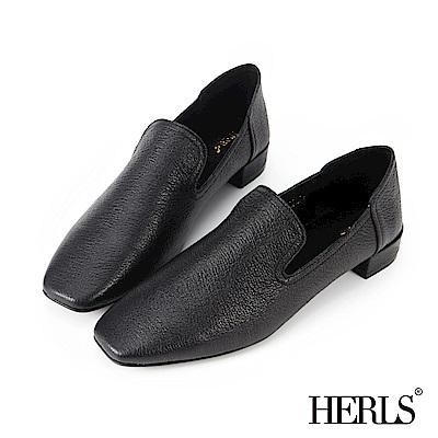 HERLS 全真皮 荔枝壓紋素面方頭樂福鞋-黑色