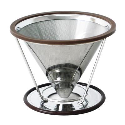 日本寶馬 1 ~ 4 杯錐型極細雙層不鏽鋼濾器(可分離式架座) HK-S-V 02 -D