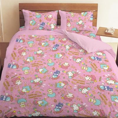 三麗鷗 55週年太空風系列-單人三件式床包薄被套組(粉)(藍紫)