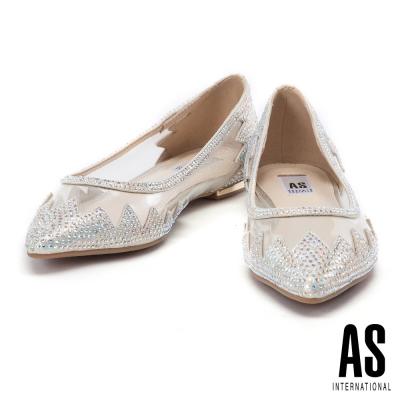 平底鞋 AS 異材質拼接絢艷晶鑽鏤空羊皮尖頭平底鞋-金