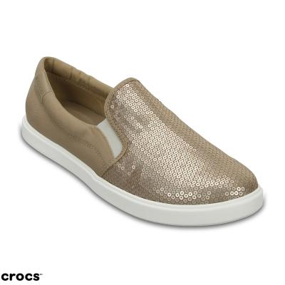 Crocs 卡駱馳 (女) 都會街頭閃亮便鞋-204285-710