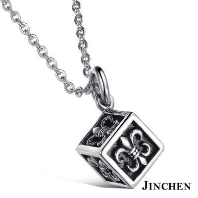 JINCHEN白鋼方塊骰子項鍊-銀色