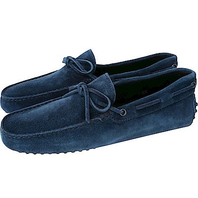 TOD'S Gommino Driving 麂皮綁帶豆豆休閒鞋(男鞋/海藍色)