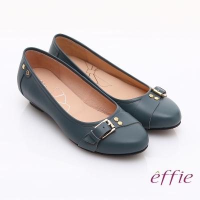 effie 輕透美型 牛皮皮飾條帶楔型低跟鞋 藍