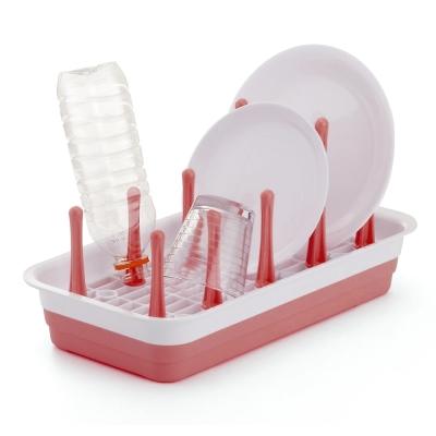日本製造INOMATA可變換收納杯盤瀝水盤(粉紅色)