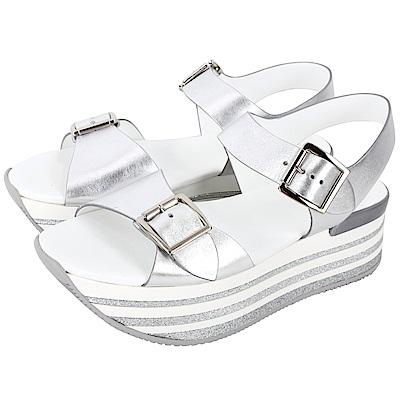 HOGAN Maxi H222 銀色雙釦帶厚底涼鞋