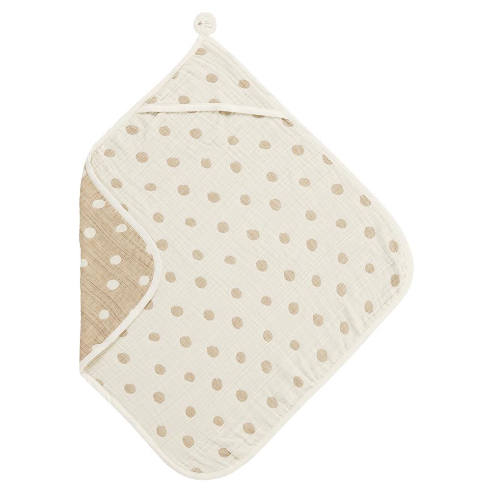 【NAOMI ITO】大圓點有機六層紗包巾 (咖啡色)