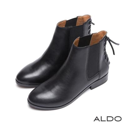 ALDO-原色真皮麻花編織鬆緊帶式木跟短靴-尊爵黑