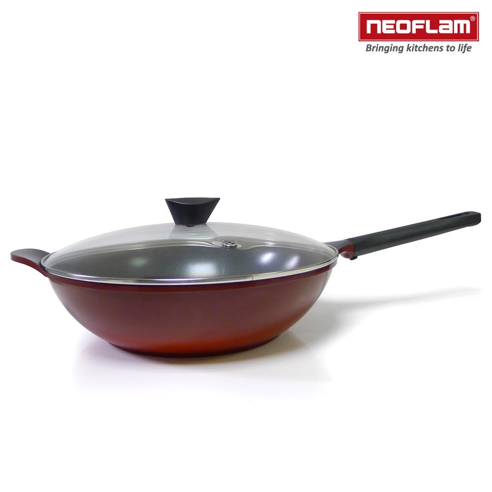 韓國NEOFLAM Mitra系列 34cm陶瓷不沾炒鍋+玻璃鍋蓋