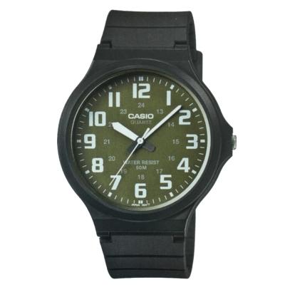 CASIO 超輕薄感實用必備大表面指針錶-(MW-240-3B)墨綠x白數字/45mm