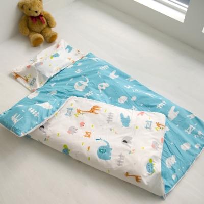 cheri 動物樂園-藍 舖棉兩用小睡袋