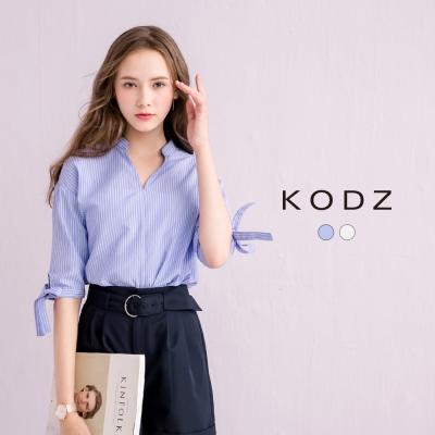 東京著衣-KODZ 氣質綁帶條紋小V領襯衫-S.M.L(共二色)
