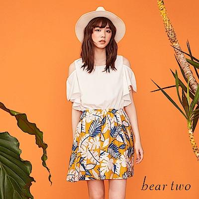 beartwo 網路獨家-花漾一夏印花拼接露肩洋裝(二色)