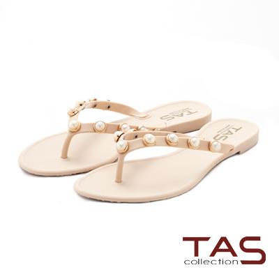 TAS 立體珍珠人字平底夾腳拖鞋-甜美膚