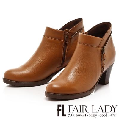 Fair Lady 摩登線條弧形低跟短靴 棕