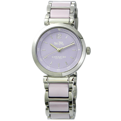 COACH浪漫紐約馬車圖騰陶瓷腕錶14502461-淡紫30mm